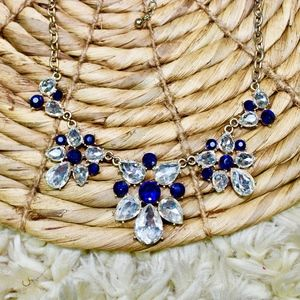 Jewelry - Royal Navy Blue Crystal Glam Statement Necklace